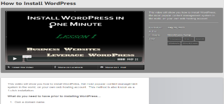 Leverage WordPress Video Tutorial and Training Page